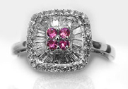 Diamond Ring  with Pink Sapphires